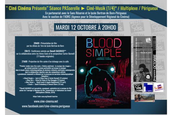 L'Association Ciné Cinéma (de Périgueux) propose un cycle de conférences sur les illustres tandems musicaux du cinéma américain